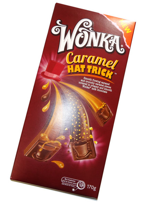 Wonka Caramel Hat Trick, by Nestle,  and more Confectionery at The Professors Online Lolly Shop. (Image Number :5360)