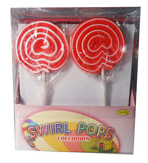 Big Swirl Lollipops - Red and White, by AIT Confectionery,  and more Confectionery at The Professors Online Lolly Shop. (Image Number :5878)