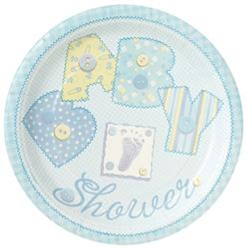 Paper Plates - Baby Blue Stitching, by Meteor,  and more Partyware at The Professors Online Lolly Shop. (Image Number :5684)