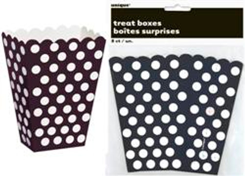 Treat Boxes - Black with White Dots, by Meteor,  and more Partyware at The Professors Online Lolly Shop. (Image Number :5775)