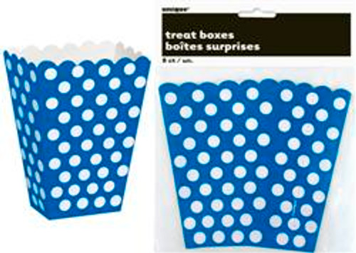 Treat Boxes - Royal Blue with White Dots, by Meteor,  and more Partyware at The Professors Online Lolly Shop. (Image Number :5777)