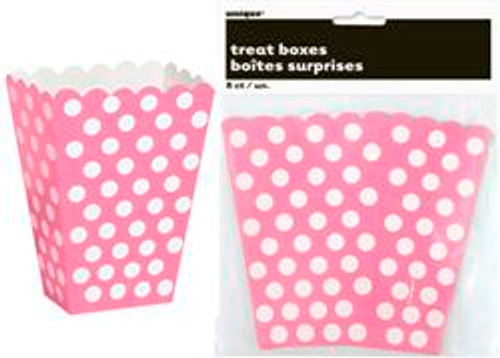 Treat Boxes - Hot Pink with White Dots, by Meteor,  and more Partyware at The Professors Online Lolly Shop. (Image Number :5779)
