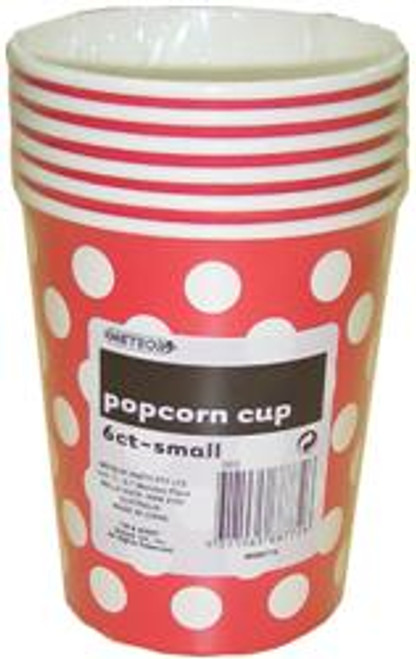 Popcorn Cups - Red with White Dots, by Meteor,  and more Partyware at The Professors Online Lolly Shop. (Image Number :5787)