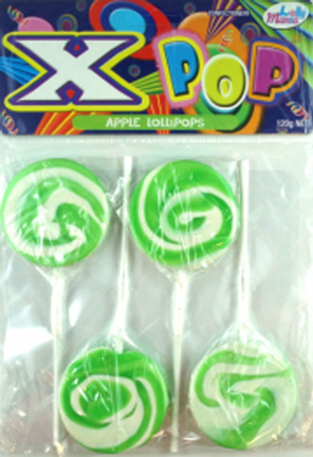 Lolly Mania X-Pops - Green - Apple Flavour, by Lolly Mania/Other,  and more Confectionery at The Professors Online Lolly Shop. (Image Number :6981)