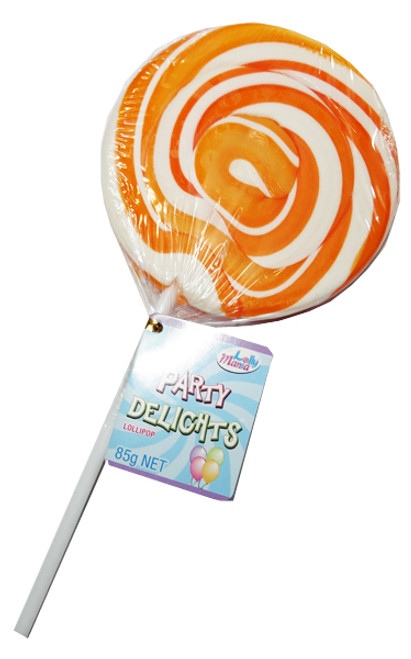Lolly Mania Party Delights Lollipops - Orange - Orange Flavour, by Lolly Mania/Other,  and more Confectionery at The Professors Online Lolly Shop. (Image Number :6051)