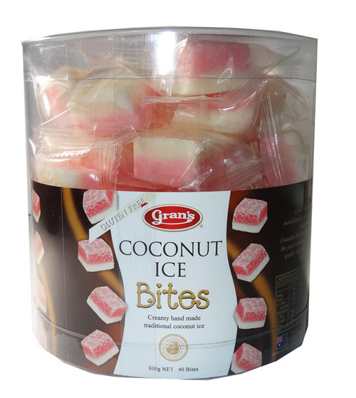 Grans Coconut Ice Bites, by Grans,  and more Snack Foods at The Professors Online Lolly Shop. (Image Number :6064)