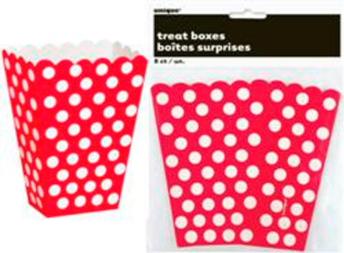 Treat Boxes - Red with White Dots, by Meteor,  and more Partyware at The Professors Online Lolly Shop. (Image Number :5965)