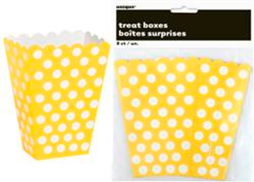 Treat Boxes - Yellow with White Dots, by Meteor,  and more Partyware at The Professors Online Lolly Shop. (Image Number :5967)