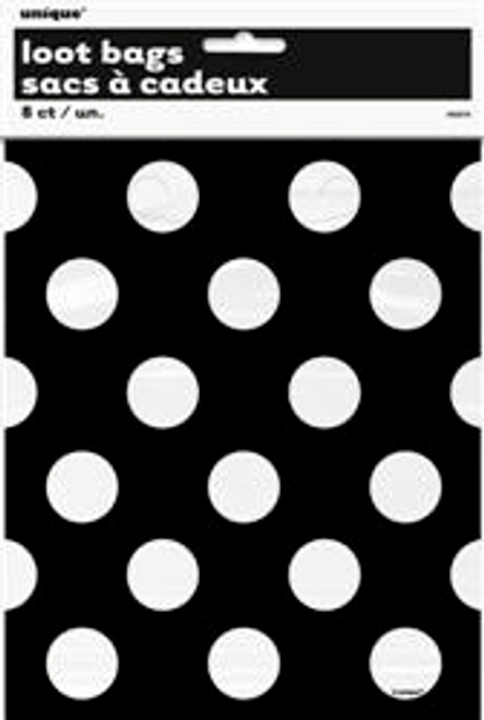 Loot Bags - Black with White Dots, by Meteor,  and more Partyware at The Professors Online Lolly Shop. (Image Number :5975)