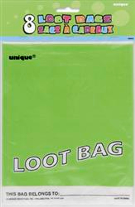Loot Bags - Lime Green, by Meteor,  and more Partyware at The Professors Online Lolly Shop. (Image Number :5981)