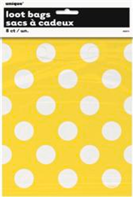 Loot Bags - Yellow with White Dots, by Meteor,  and more Partyware at The Professors Online Lolly Shop. (Image Number :5983)