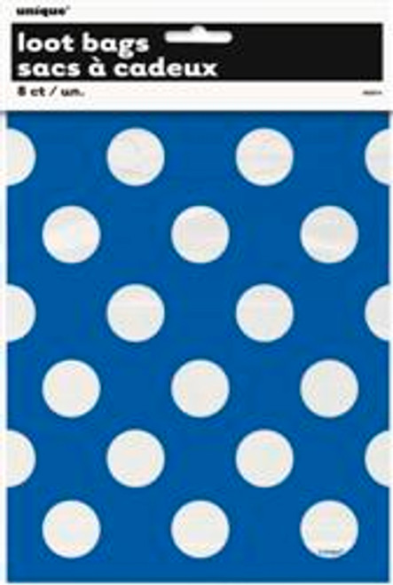 Loot Bags - Royal Blue with White Dots, by Meteor,  and more Partyware at The Professors Online Lolly Shop. (Image Number :5985)