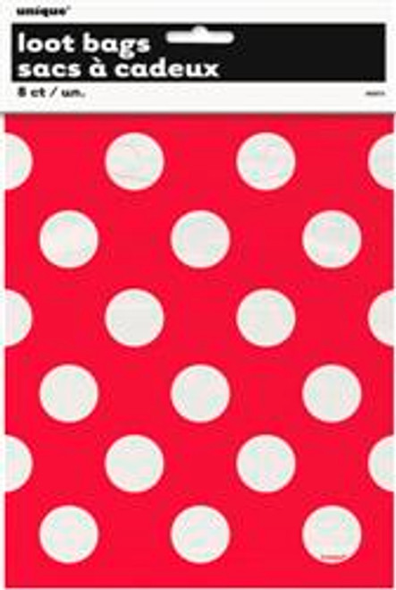 Loot Bags - Red with White Dots, by Meteor,  and more Partyware at The Professors Online Lolly Shop. (Image Number :5989)