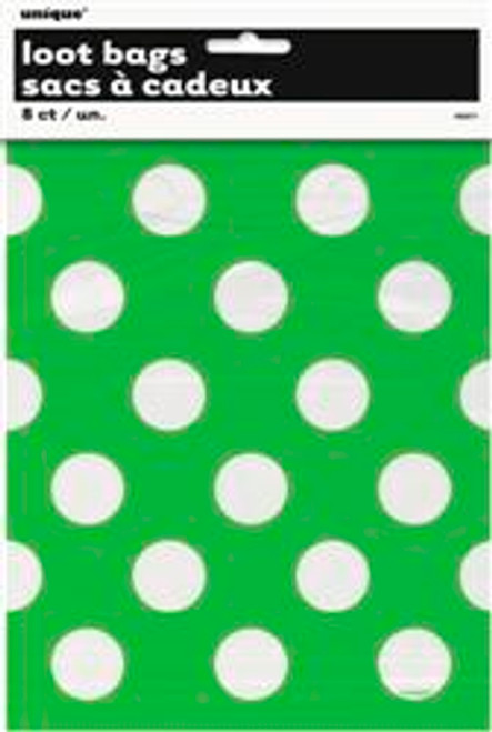 Loot Bags - Lime Green with White Dots, by Meteor,  and more Partyware at The Professors Online Lolly Shop. (Image Number :5991)