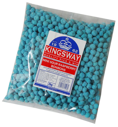 Mini Bon Bons - Sour Blue Raspberry, by Kingsway,  and more Confectionery at The Professors Online Lolly Shop. (Image Number :6666)