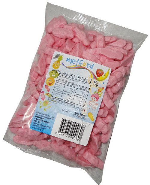 Metford Pastel Pink Jelly Babies, by Metford Confectionery,  and more Confectionery at The Professors Online Lolly Shop. (Image Number :6762)