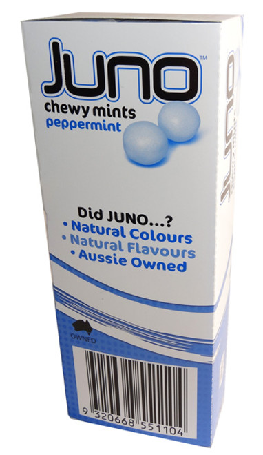 Juno Chewy Mints - Peppermint, by Ferndale Confectionery,  and more Confectionery at The Professors Online Lolly Shop. (Image Number :7138)