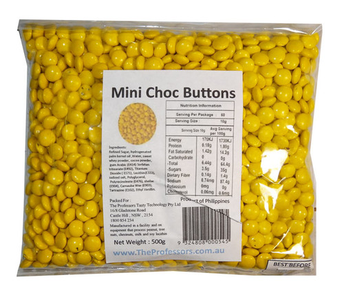 Mini Choc Buttons - Yellow, by Brisbane Bulk Supplies,  and more Confectionery at The Professors Online Lolly Shop. (Image Number :7334)
