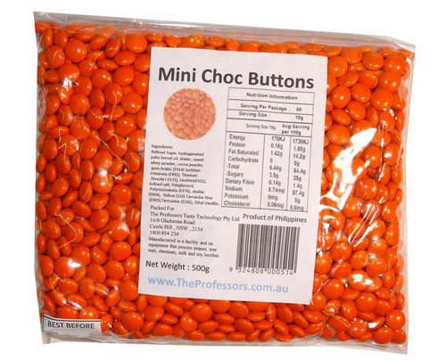 Mini Choc Buttons - Orange, by Brisbane Bulk Supplies,  and more Confectionery at The Professors Online Lolly Shop. (Image Number :7332)