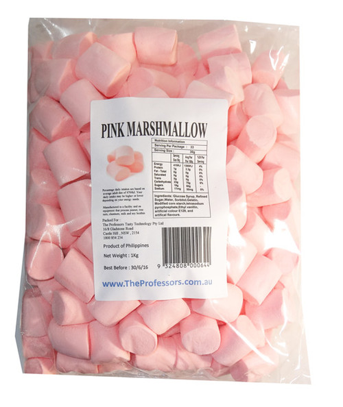 Sweet Treats Marshmallows Extruded - Pink, by Brisbane Bulk Supplies,  and more Confectionery at The Professors Online Lolly Shop. (Image Number :7345)