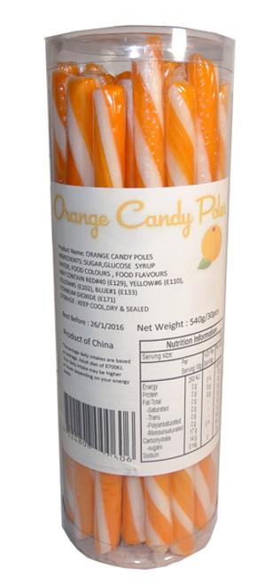 Candy Poles Jar - Orange, by Brisbane Bulk Supplies,  and more Confectionery at The Professors Online Lolly Shop. (Image Number :7318)