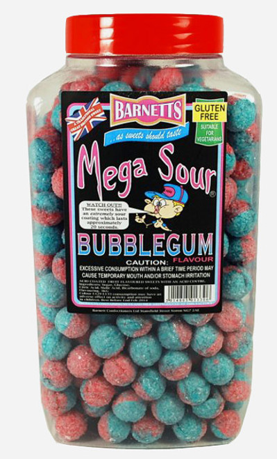 Barnetts Mega Sour Candy - Bubble Gum Flavour, by Barnetts,  and more Confectionery at The Professors Online Lolly Shop. (Image Number :7275)