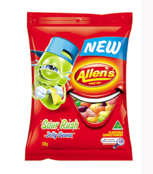 Allens Sour Rush Jelly Beans, by Allens Confectionery,  and more Confectionery at The Professors Online Lolly Shop. (Image Number :7749)
