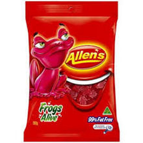 Allens Red Frogs, by Allens Confectionery,  and more Confectionery at The Professors Online Lolly Shop. (Image Number :7743)