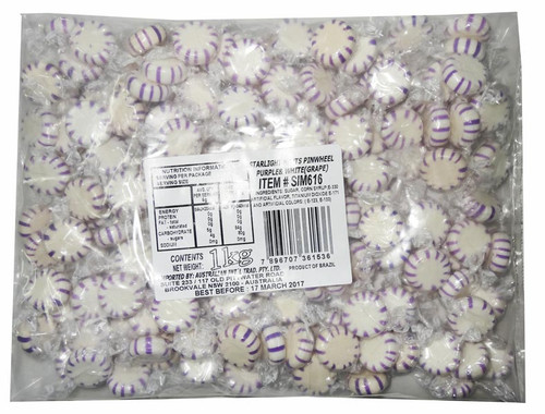 Starlight Pinwheels - Purple and White - Grape, by AIT Confectionery,  and more Confectionery at The Professors Online Lolly Shop. (Image Number :7781)
