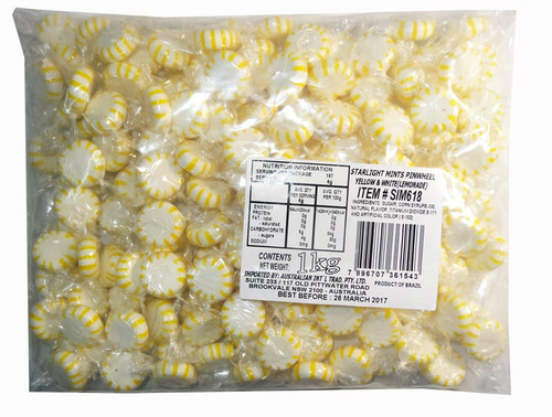 Starlight Pinwheels - Yellow and White - Lemon, by AIT Confectionery,  and more Confectionery at The Professors Online Lolly Shop. (Image Number :7779)