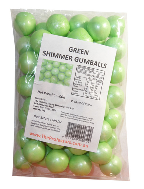 Sweet Treats Shimmer Gumballs - Green, by Brisbane Bulk Supplies,  and more Confectionery at The Professors Online Lolly Shop. (Image Number :7811)