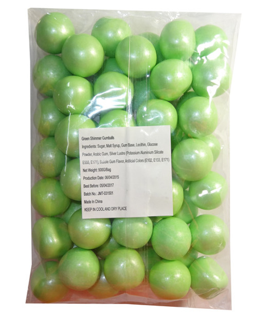 Sweet Treats Shimmer Gumballs - Green, by Brisbane Bulk Supplies,  and more Confectionery at The Professors Online Lolly Shop. (Image Number :7812)