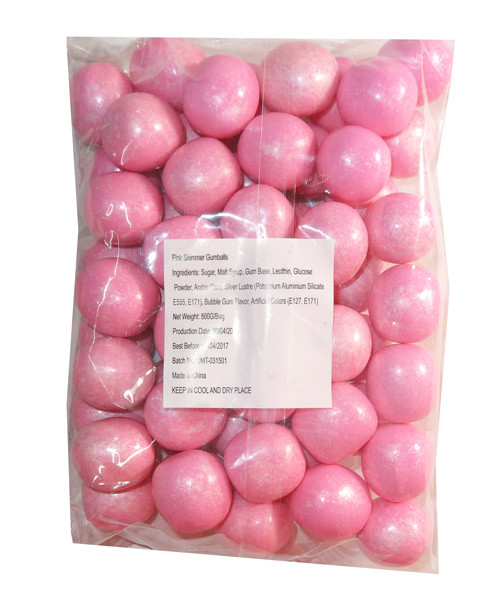 Sweet Treats Shimmer Gumballs - Pink, by Brisbane Bulk Supplies,  and more Confectionery at The Professors Online Lolly Shop. (Image Number :7809)