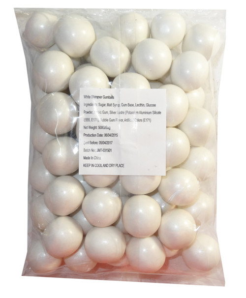 Sweet Treats Shimmer Gumballs - White, by Brisbane Bulk Supplies,  and more Confectionery at The Professors Online Lolly Shop. (Image Number :7807)
