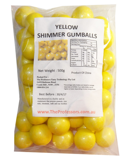 Sweet Treats Shimmer Gumballs - Yellow, by Brisbane Bulk Supplies,  and more Confectionery at The Professors Online Lolly Shop. (Image Number :7804)