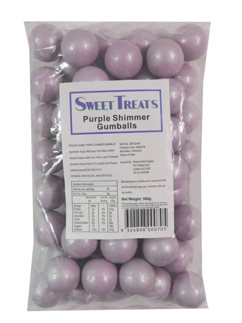 Sweet Treats Shimmer Gumballs - Purple, by Brisbane Bulk Supplies,  and more Confectionery at The Professors Online Lolly Shop. (Image Number :9173)