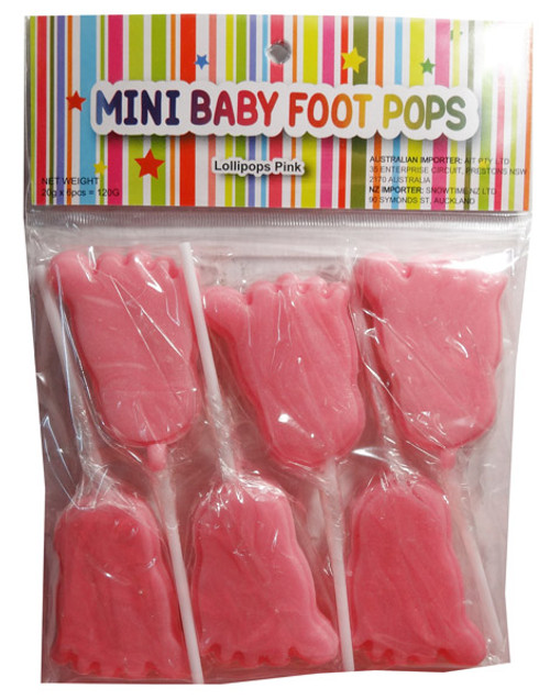 Mini Baby Foot Pops - Pink and more Confectionery at The Professors Online Lolly Shop. (Image Number :7981)
