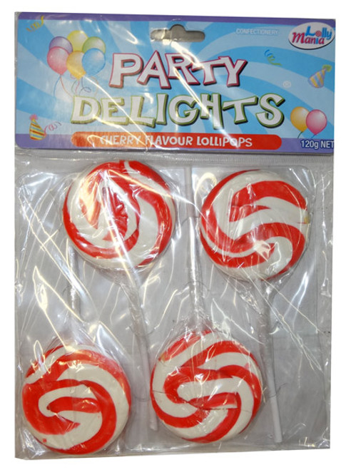 Party Delights - Red - Cherry Flavour, by Lolly Mania,  and more Confectionery at The Professors Online Lolly Shop. (Image Number :8177)