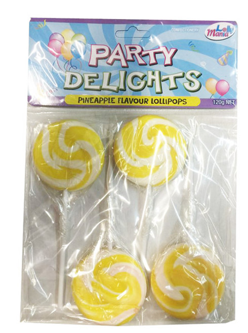 Party Delights - Yellow -  Pineapple Flavour, by Lolly Mania,  and more Confectionery at The Professors Online Lolly Shop. (Image Number :8176)