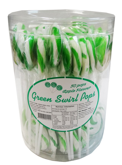 Swirl Pops - Green, by Brisbane Bulk Supplies,  and more Confectionery at The Professors Online Lolly Shop. (Image Number :8270)
