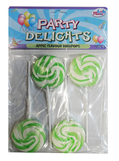 Party Delights - Green - Apple Flavour, by Lolly Mania,  and more Confectionery at The Professors Online Lolly Shop. (Image Number :8452)
