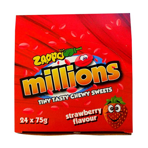 Zappo Millions - Strawberry, by Crown Confectionery,  and more Confectionery at The Professors Online Lolly Shop. (Image Number :10588)