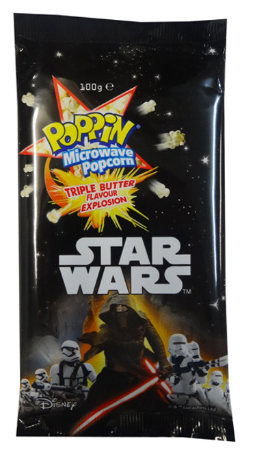 Poppin Microwave Popcorn - Triple Butter Flavour - Star Wars Special, by The Popcorn King,  and more Snack Foods at The Professors Online Lolly Shop. (Image Number :8504)