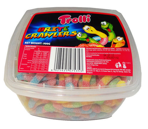 Trolli Brite Crawlers Tub, by Trolli,  and more Confectionery at The Professors Online Lolly Shop. (Image Number :8600)