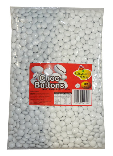 Lolliland Choc Buttons - White, by Lolliland,  and more Confectionery at The Professors Online Lolly Shop. (Image Number :8672)