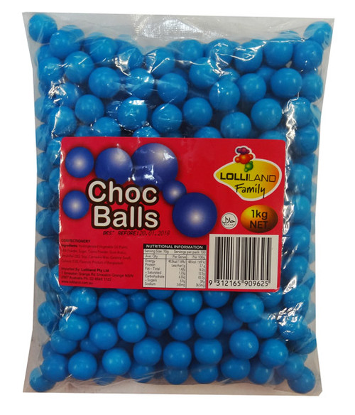 Lolliland Choc Balls - Blue, by Lolliland,  and more Confectionery at The Professors Online Lolly Shop. (Image Number :8629)