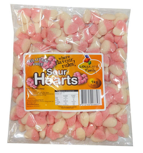 Lolliland Sour Hearts - Pink and White, by Lolliland,  and more Confectionery at The Professors Online Lolly Shop. (Image Number :8641)