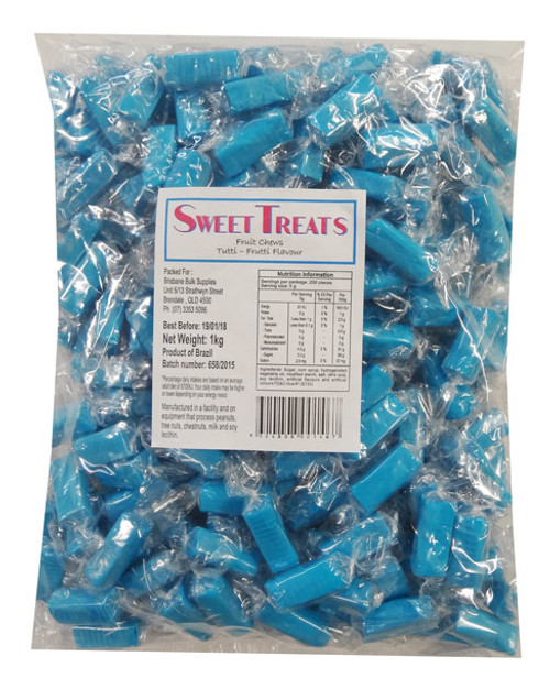 Sweet Treats Wrapped Fruit Chews - Blue, by Brisbane Bulk Supplies,  and more Confectionery at The Professors Online Lolly Shop. (Image Number :8887)