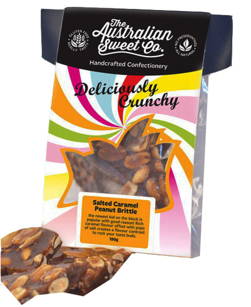 Gourmet Salted Caramel Peanut Brittle - Card Wrap, by The Australian Sweet Company,  and more Confectionery at The Professors Online Lolly Shop. (Image Number :8725)