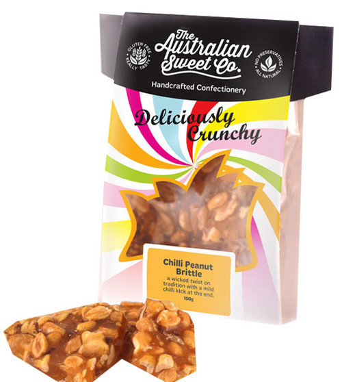 Gourmet Chilli Peanut Brittle - Card Wrap, by The Australian Sweet Company,  and more Confectionery at The Professors Online Lolly Shop. (Image Number :8724)